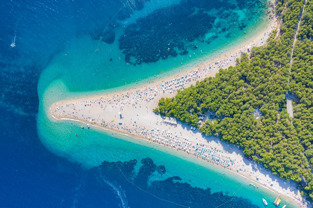 Aerial view of Zlatni rat (Golden Horn) Beach in Bol, Croatia