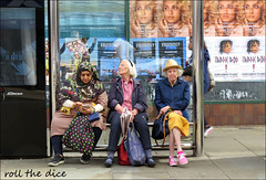 `2833 (roll the dice) Tags: london people fashion streetphotography urban unaware unknown candid portrait strangers bored break mad sad fun funny smile angry upset reaction shock hot sunny weather group england lunch kensington w8 kensingtonchelsea wisdom natural advertising opa old women trippieredd rapper lanadelrey muslim culture headscarf mobile phone jcdecaux billboards canon tourism tourists shops shopping bags