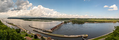 Lock & Dam #11 on The Mississippi River (Jill Clardy) Tags: cruise mississippirivercruise 201908139l8a7585pano2edit ld11 lock dam 11 eleven dubuque iowa boat mississippi river eagle point park