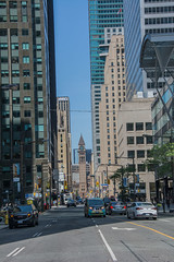190802.133 Bay Street with Old Toronto City Hall clock tower in a distance (tulak56) Tags: 2019 ontario toronto street