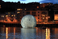 Luke Jerram's moon, Bristol Docks (Benn Gunn Baker) Tags: benn gunn baker canon power shot 550d t2i bristol luke jerram docks waterfront moon art balloon