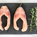 Top view of Carp Fish slices with Rosemary