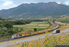 Salt Lake City to Council Bluffs (jamesbelmont) Tags: unionpacific spiritofunionpacific emd sd70ah passenger mountogden mountaingreen peterson utah evanstonsubdivision interstate84 train railroad railway locomotive