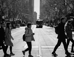 Spring is Coming (McLovin 2.0) Tags: tram city urban melbourne crossing street streetphotography people