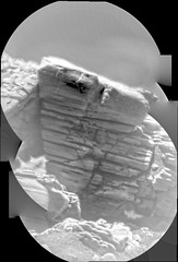 Small Layered Rock, variant (sjrankin) Tags: 24august2019 edited nasa mars msl curiosity galecrater rocks sand dust grayscale panorama closeup layer layers