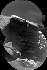 Small Layered Rock (sjrankin) Tags: 24august2019 edited nasa mars msl curiosity galecrater rocks sand dust grayscale panorama closeup layer layers