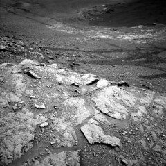 Tracks of Curiosity (sjrankin) Tags: 24august2019 edited nasa mars msl curiosity galecrater rocks sand dust grayscale nlb619780919edrf0763002ncam00284m sanddrifts tracks wheeltracks