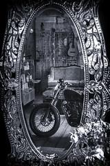 Cafe Mirror (hotpotato70) Tags: smokedgarage cafe bar wickhamstreet fortitudevalley brisbane queensland australia blackwhite monochrome silverefexpro2 tamron2470mmf28 canon7d motorbike guitar mirror reflection retro