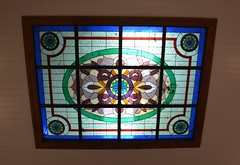 Bundaberg, Queensland / Stained glass light in Fairymead House sitting room (contemplari1940) Tags: bundaberg queensland fairymead house sugar history museum indian bungalow architecture plantation mill johnsheddenadam architect wwi wwii honour roll stained glass