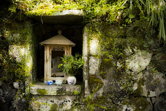 Hokora, Kawayuonsen (DanÅke Carlsson) Tags: japan japanese hokora hokura shinto religion traditional worship wall kami moss stone shrine