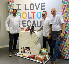 Chefs Michael Caines, Simon Wood and Mike Harrison at Bolton Food Festival 2019 (Tony Worrall) Tags: nw northwest north update place location uk england visit area attraction open stream tour country item greatbritain britain english british gb capture buy stock sell sale outside outdoors caught photo shoot shot picture captured ilobsterit instragram chef cooks men inside bolton foodfestival boltonfoodfestival shops centre cake bake