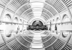Vortex (Tracey Whitefoot) Tags: 2019 tracey whitefoot london va victoria albert architecture reflection vortex mono monochrome black white circles ceiling roof