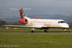 G-SAJO Embraer 145 Loganair Glasgow airport EGPF 22.08-19 (rjonsen) Tags: plane airplane aircraft aviation jet regional airliner airside taxying