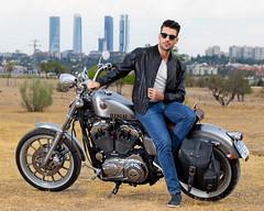 Anthony Lorca with Remour sunglasses (anthonylorca) Tags: sunglasses madrid motorbike harley davidson model actor fashion
