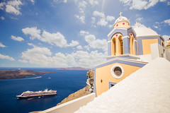 Blue - Santorini (Flavia-cyb) Tags: blue water sky clouds church boats islands santorini greece grecia trip travel summer estate landscape paesaggio amazing traveling canon
