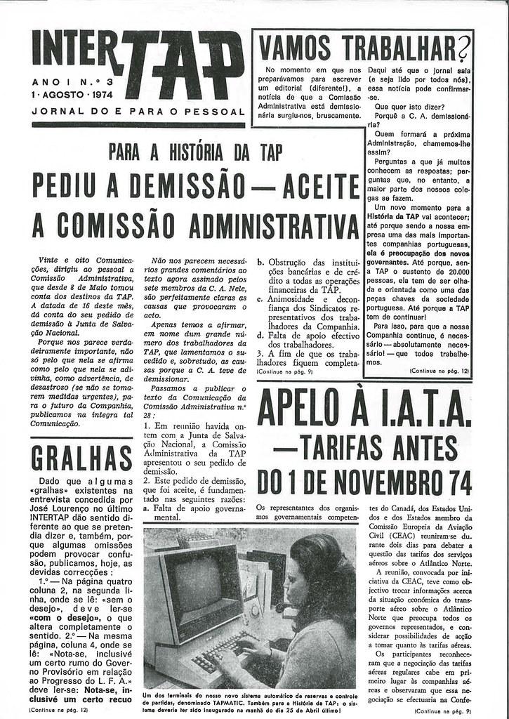 Jornal InterTAP, n.º 3, 1-8-1974