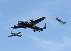PA474 Avro Lancaster with AB910 Spitfire and PZ865 Hurricane (Keith B Pics) Tags: pa474 ab910 pz865 lancaster bbmf spitfire hurricane battleofbritainmemorialflight clactonairshow southend egmc sen keithbpics runandbreak