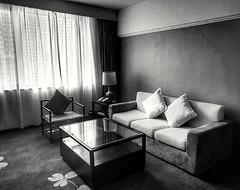 Hotel Room (-Faisal Aljunied - !!) Tags: faisalaljunied penang malaysia hotelrooms sofa chairs table sidetable tablelamp cushions blackandwhite monochrome