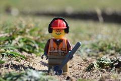 Digging ahead. (Working hard for high quality.) Tags: character lego toy adventure scene style city town builder grass spade shovel