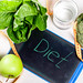 Inscription diet with measuring tape and green vegetables and fruits