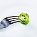Closeup of a broccoli on a fork