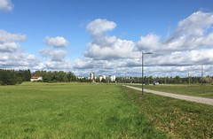 """Under the Clouds"" (Seppo53) Tags: clouds sky skyline city grass park tree car järvenpää finland building architecture road cyclepath empty streetlamp lamppost summer house"