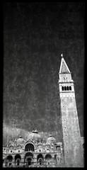 San Marco - basilica and campanile (pho-Tony) Tags: belairx612 venice rolleiretro400s lomography belair x 612 lomographybelairx612 120 medium format panoramic bellows folder folding 90mm 58mm plastic lens plasticlens automatic lomo lomographic 6x12 6x9 6x6 cityslicker city slicker rollei retro 400 iso400 rodinal black white bw blackandwhite backing paper markings bleed glitch fault