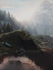 """""""Dawn"""" (L1netty) Tags: thevanishingofethancarterredux thevanishingofethancarter theastronauts pc game gaming pcgaming videogame reshade screenshot virtual digital 4k landscape scenery nature trees grass lake water river bridge sky sun clouds mountains color outdoor"""