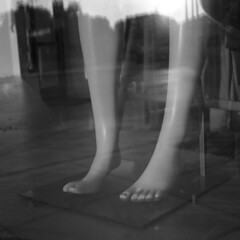 untitled (kaumpphoto) Tags: rolleiflex 120 tlr ilford hp5 bw black white feet legs toes mannequin dummy window display reflection minneapolis street urban city foot