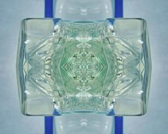 Vitreous Body Glaskörper -  Mouches volantes = floaters =  fliegende Mücken = muscae volitantes = Glaskörperflocken (Glaskörpertrübung, vitreous opacity) - Collection: Shards of Glass Sammlung: Glasscherben - Pareidolia im Glaskörper (hedbavny) Tags: strichcode barcode etikette aufkleber label sticker green grün blau blue flower blossom blüte digitalart fotobearbeitung auge eye iris regenbogenhaut glaskörper brille goggles spectacles glasses kaleidoscope kaleidoskop butterfly schmetterling puppe kokon wings flügel geborsten zerbrochen broken gebrochen shattered glass shards scherben glasscherben bruchglas splitter glas collection sammlung trash abfall litter accident accidental transparent durchsichtig reflection spiegelung ornament pattern symmetry pareidolia rorschach hedbavny ingridhedbavny crystal kristall astronaut taucher