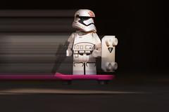 Stormtrooper on Hoverboard (weeLEGOman) Tags: lego finn stormtrooper star wars first order empire jedi back future 1980s 80s hoverboard motion blur black background pink minifigure minifigures toy macro photography uk nikon d7100 105mm robert trevissmith weelegoman