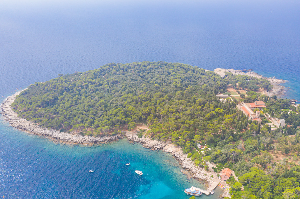 Aerial view of the port and the Benedictine Monastery of St. Mary on Lokrum, Croatia