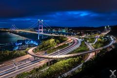 Tsing Ma Bridge, Hong Kong. (DanielKHC) Tags: hongkong china tsingma bridge blue highway light trails nisi naturalnight filter nikon z7 nikkor1430mmf4 urban clouds sky