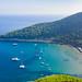 Luftbild vom Strand Sunj auf der Insel Lopud in Kroatien