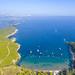Aerial view of the Adriatic Sea at Sunj Beach on Lopud island, Croatia