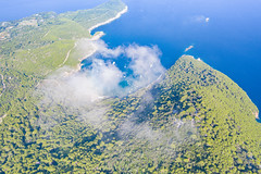 Mist over Sunj Beach on Lopud island, Croatia
