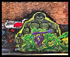 The Hulk - Detroit Graffiti - Alley Art 6 (will-jensen-2020) Tags: usa america michigan detroit graffiti art alley artistic brick color digital iphone photography hulk cartoon marvell flickr city urban urbex global alleyway creative street streetart midwest outdoor world earth planet