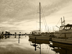 Sunrise - intentionally overexposed (mimsjodi) Tags: sunrise titusvillemarina monochrome water sky boats challenge groupchallenge saturdayselfchallenge sailboat cellphone
