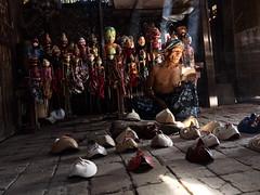 a puppet master making mask at Cirebon Indonesia (Rama Nusjirwan) Tags: humaninterest people wayang golek cirebon indonesia mask handcraft traditional