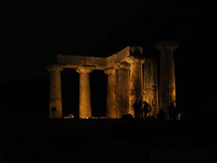 Ancient Corinth - The temple of Apollo (nverde) Tags: ancient temple greece corinth silhouette apollo