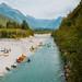 Kayaks on river Soca in Bovec