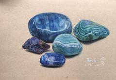 Precious (kimhanh1304) Tags: stone stones prismacolor coloredpencil art ttnhana drawing blue polishedstones