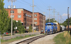 Leaving Owosso (GLC 392) Tags: glc great lakes central railroad railway train ontn emd gp382 397 398 owosso mi michigan woodard furniture warehouse