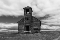 No Services This Sunday (John H Bowman) Tags: montana weatheredwood derelictbuildings canon24704l hillcounty bw abandoned churches july 2019 countrychurches abandonedchurches july2019 presbyterianchurches catholicchurches lutheranchurches explore rural blueskywhiteclouds