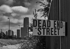 Dead End Street (Kool Cats Photography over 12 Million Views) Tags: luminar oktraveltakeover route66 abstractart abstract architecture artistic bw blackandwhite canon canon6d canon24105mmf4lislens downtown backalley landscape monochrome oklahomacity oklahoma outdoors photography sign streetphotography