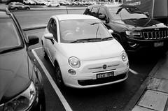 2014 Fiat 500 (Matthew Paul Argall) Tags: canonsnappy20 fixedfocus 35mmfilm kentmerepan100 100isofilm blackandwhite blackandwhitefilm car vehicle automobile transportation fiat500 economycar