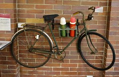 Bundaberg, Queensland Fairymead House and Sugar History Museum / bicycle, with Thermos flasks, probably ridden around the plantation (contemplari1940) Tags: bungaberg queensland fairymead house sugar history museum indian bungalow architecture plantation mill johnsheddenadam architect wwi wwii honour roll bicycle thermos flask