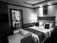 Hotel room (-Faisal Aljunied - !!) Tags: faisalaljunied penang hotelroom bed lamp pillows toilet sofa royalechulanhotel malaysia blackandwhite monochrome