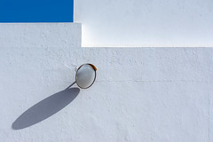 Walls and mirror (Jan van der Wolf) Tags: map194199v walls muur muren white wit lanzarote shadow shadowplay schaduw schaduwspel mirror round spiegel