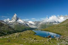 20190808-31-Matterhorn and Stellisee Lake (Roger T Wong) Tags: 2019 alps matterhorn rogertwong sel24105g sony24105 sonya7iii sonyalpha7iii sonyfe24105mmf4goss sonyilce7m3 stellisee switzerland valais zermatt clouds lake mountain mountains reflection travel triangle